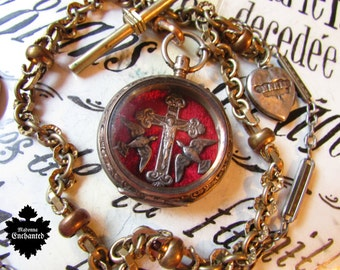 Madonna Enchanted reliquary necklace antique Victorian watch case gold chain sterling sacred heart locket one of a kind jewelry assemblage