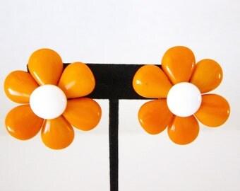 Vintage Earrings Flower Jewelry Flower Earrings Orange Earrings Flower Power Hippie Jewelry BoHo Jewelry West Germany 1960s Sixties B68