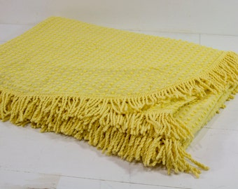 Vintage Bates Chenille Bedspread, Yellow, Twin Size, Silver Thread