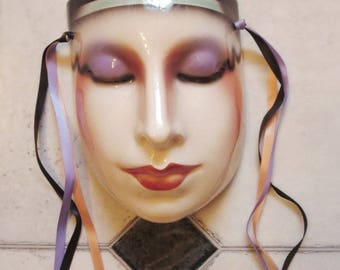 Clay Art Ceramic Face Wall Mask, Art Deco Face, Wall Hanging, Egyptian
