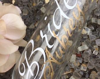Bride champagne glass, Personalized  Bride glass, stemless bridesmaid glasses, stemless champagne flutes