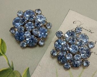 Blue Rhinestone Cluster Clip On Vintage Earrings  OA42