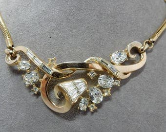 1952 TRIFARI 'The Enchanted Touch' Rhinestone Choker Necklace & Earrings Set by Alfred Philippe   OAB22
