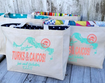10+ LINED Turks and Caicos Canvas Market Tote Bags - Custom Destination Wedding Welcome Canvas Market Tote Bags