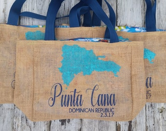 5+ Punta Cana Dominican Republic - Destination Custom Destination Wedding Welcome Beach Burlap Tote Bags - Handmade Favors Bridesmaids Gifts