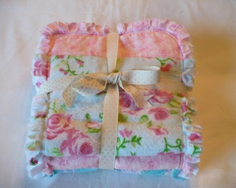 Baby Girl Burp Cloth Set of 3- Shabby Pink Roses on Aqua Blue Chenille Rag Quilted