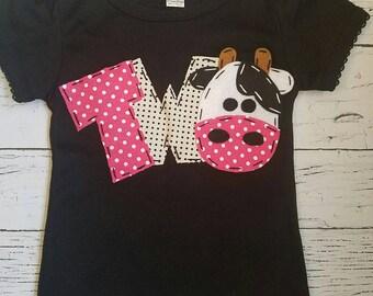2 barnyard birthday shirt, two, cow, 2nd, girl  t shirt, barn yard, farm theme, black cow, petting zoo theme