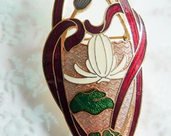 Art Nouveau Style Signed Guilloche Enamel Huge Brooch Water Lily