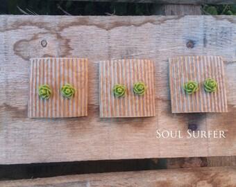 Green Rosebud Earrings