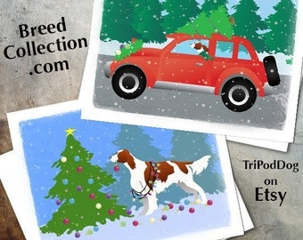 Irish Red and White Setter Dog Christmas Cards from the Breed Collection - Digital Download  Printable