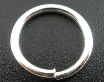 THICK - 100 pcs. Silver Plated Open Jump Rings - 12mm - 15 Gauge - HIGH QUALITY