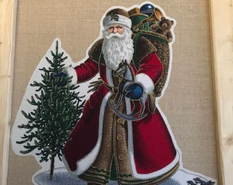 Vintage fabric Santa on burlap-DO NOT ORDER-these are examples!