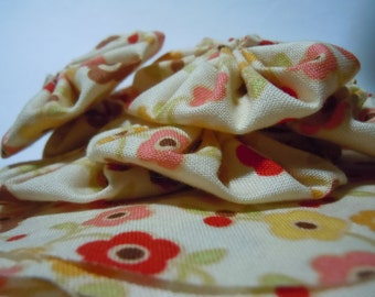 Yellow print Yo Yos for crafting, sewing, jewelry making, card making, quilting embellishments