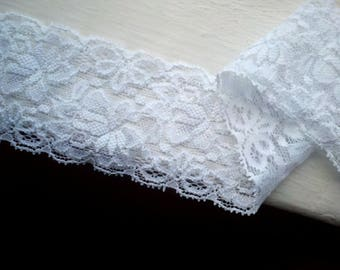 """3 Yards, 2 1/4""""  Wide White Elastic Lace with Flower, Leaves and Scalloped Edges. Bridal Garter, Lingerie, Headbands,"""