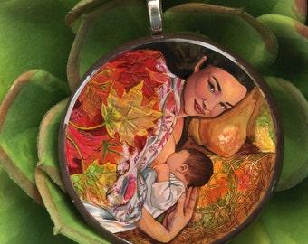 Autumn Birth Art Pendant - Midwife, doula, motherhood, and goddess