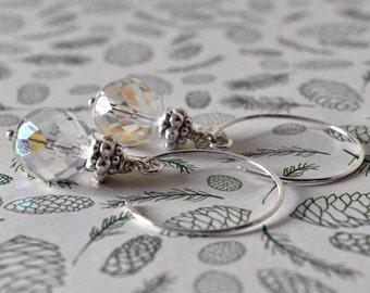 Glass Earrings, Wedding Earrings, Bridal Jewellery, Long Earrings UK