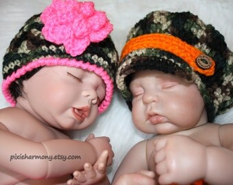 Twin Baby Boy and Girl Camo Hats OR Diapers - Camo Orange Pink Ruffle - Newborn Photo Prop - Made to ORDER- ANY Color