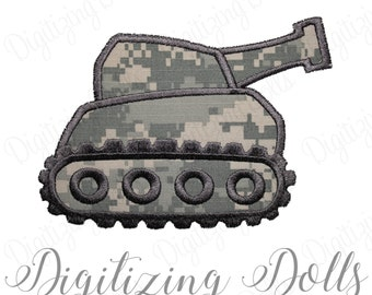 Tank Machine Embroidery Applique Design 4x4 5x7 6x10 Military Army INSTANT DOWNLOAD
