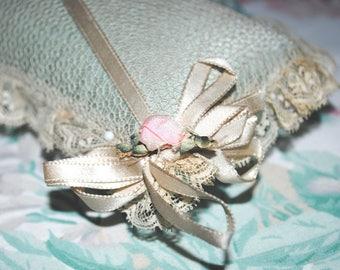 Antique PIN CUSHION RIBBON Rosette net lace & Aqua Silk Boudoir