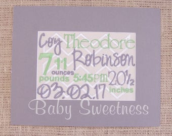 Birth Details Gift -  Canvas Embroidery - Chevron Nursery - 8X10 No Frame - Green Gray Nursery - New Parents Gift - New Baby Birth Gift