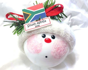 Country Flag Souvenir South Africa Sample Christmas Ornaments Hand Painted Handmade Personalized Themed by Townsend Custom Gifts - F
