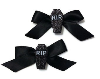 RIP You're Dead to Me Goth Gothabilly Punk Pair of Bows