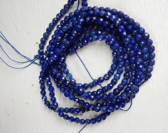 4mm Lapis lazuli faceted round beads, full strand (15.5 inches)
