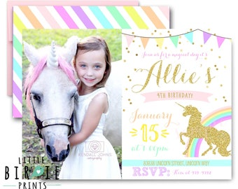 UNICORN INVITATION Unicorn Birthday Party Invitation Rainbow Unicorn Sparkle Gold and Pink Invitation