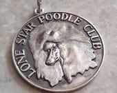 Poodle Medallion Sterling Silver Lone Star Poodle Club Vintage CW0376