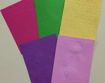 EMBOSSED CARDSTOCK 41/4 x 51/2 inches 5 pack Girls Pack 1