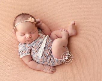 Newborn girl floral romper with lace details (Zoe) - photography prop - grey, blue, peach, coral, white, onesie, newborn outfit