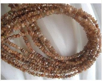 60% HOLIDAY SALE Orange Rough Diamonds - Natural Raw Uncut Diamond Beads - 3.5mm To 1.5mm - 16 Inch Strand