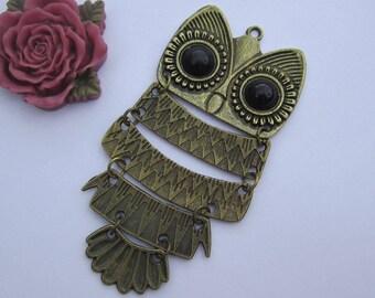 Owl, owl pendant, pendant, owl charm, owl necklace, 2pc Classic Style antique bronze owl charm pendants 98x47mm