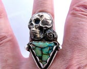 Sterling, Sterling Silver, Ring, Handmade, Skull, Cultured Monarch Opal, White Copper Skull and Rose, Green Opal, Boho, Hippie, size 8