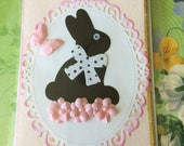 Easter card with bunny shabby chic style handmade