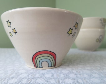 Rainbow and Stars Cereal or Soup Bowl