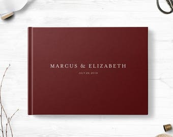 Hardcover wedding guestbook, Landscape, Wedding guest book, Various colors