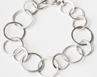 Sterling Silver forged link style bracelet with toggle clasp - Silver Bracelet - Sterling Silver Bracelet - Links - Blueberry Jewelry