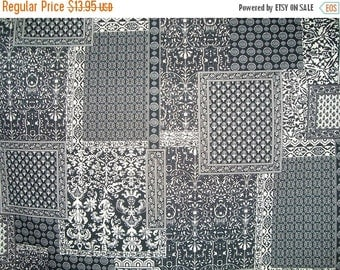 ON SALE Black and Ivory Woodblock Style Print Stretch Cotton Sateen Fabric--One Yard
