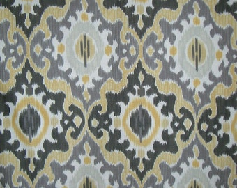 Gray Mustard and Chocolate Maasai Print Pure Cotton Fabric from dear Stella--By the Yard