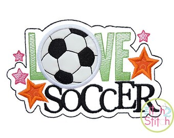 Love Soccer Applique Design For Machine Embroidery,  INSTANT DOWNLOAD now available