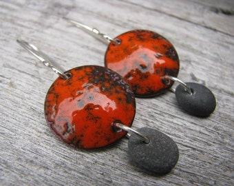 Red torch fired enamel earrings, rustic red enamel earrings, beach stone dangle earrings