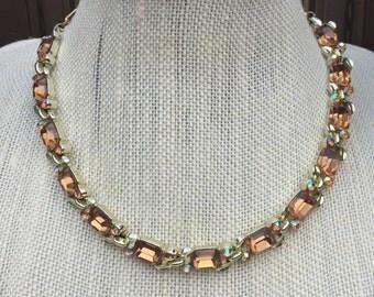 Vintage Lisner Choker Necklace, Estate Jewelry, Topaz Rhinestone Necklace