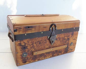 Antique Small Trunk, Wooden Doll Trunk, Small Storage Box