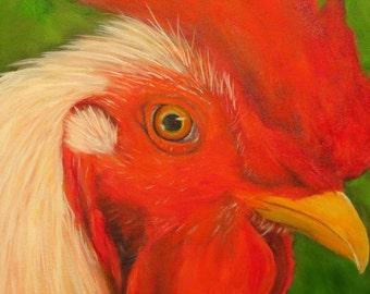 Rooster chicken bird Giclee CANVAS PRINT of original oil painting by Sandra Cutrer Fine Art