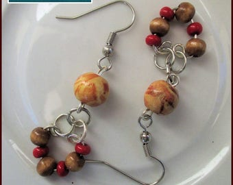 Brown Red Wood Dangle Earrings, Silver Tone, Hypoallergenic, Nickelfree, Wood Beads, Czech Glass, Cute, Coordinating Necklace Available