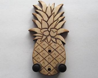 Deluxe pineapple ukulele wall mount hanger, hand carved holder