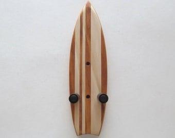 Ukulele wall mount hanger, mini surfboard, brown