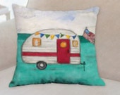 Vintage Camper Pillow - Glamping and a Camping Pillow - I love Camping Pillow - American Flag Pillow - Vintage Style Camping Pillow