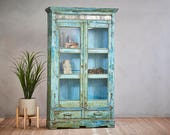 Turquoise Blue Vintage Cabinet Bathroom Entryway Accent Color